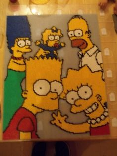 Simpson Family hama beads by natachanewman. This piece is made from Midi Beads it took myself and a friend 14 hours to make we used 30 peg boards and around 20'000 beads.