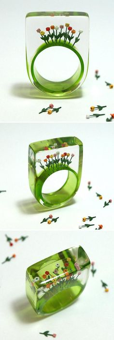 GeschmeideUnterTeck's resin ring lets you wear a garden of ten tiny tulips on your finger via etsy. Plastic Jewelry, Resin Jewelry, Diy Jewelry, Jewelry Box, Jewelry Rings, Jewelry Accessories, Jewelry Making, Jewellery, Bijoux Design