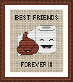 Poop Emoji Funny Cross Stitch PDF Pattern - Poo and Toilet Paper Best Friends Forever - Poop+Emoji+Funny+Cross+Stitch+PDF+Pattern++Poo+door+CrazzzyStitch - # Paper Embroidery, Embroidery Patterns, Simple Embroidery, Cross Stitching, Cross Stitch Embroidery, Cross Stitch Quotes, Plastic Canvas Patterns, Le Point, Cross Stitch Designs