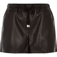 Black leather look runner shorts £28.00