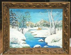 Mid Century Oil Painting Ornate Carved Leaf Relief Wood Frame Winter Scene #Vintage