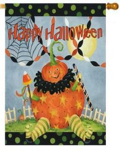 Sitting Pumpkin Halloween Banner House Flag, Size x Halloween Banner, Halloween 1, Halloween Pumpkins, Pumpkin Garden, Mailbox Covers, Flag Signs, Outdoor Flags, Flag Banners, House Flags