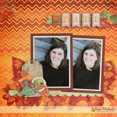 Juliana Michaels designed this gorgeous layout using the new Autumn Song collection. Love the cluster of elements and leaves. #BoBunny, @Juliana Michaels