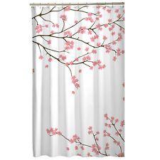 Floral Pink Cherry Blossom Asian Sakura Fabric Shower Curtain