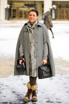 Garance Dore bundling up (that cape!) at NYFW #streetstyle
