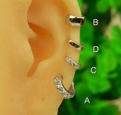silver cartilage earringear cuff cartilage hoop by sayukeko