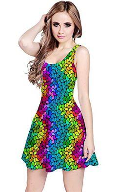 8a5034062c CowCow Dark Rainbow Petals Sleeveless Skater Dress