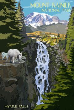 Mount Rainier National Park - Myrtle Falls & Mountain Goats - Lantern Press Poster