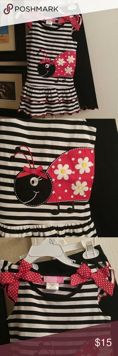 Ladybug Set Cute little applique lady bug on black and white striped top. Trimmed with red stitching. Black leggings trimmed with red stitching. NWOT. Never worn. Brand is Goodlad. Goodlad Matching Sets