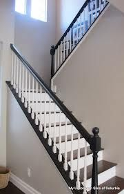 DIY::How to Paint Stair Rails Like A Pro (Excellent Tutorial) Wished I had naked stairs with no carpet on them. Wonder what's beneath my carpeted stairs? - Home Decor House Design Home Renovation, Home Remodeling, Kitchen Renovations, Oak Stairs, Wooden Stairs, Basement Stairs, House Stairs, Stair Makeover, Painted Stairs