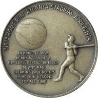 Henry Aaron 715th Home Run Silver Commemorative Coin. Wow, The Ball Is Bigger Than He Is. http://www.gainesvillecoins.com/