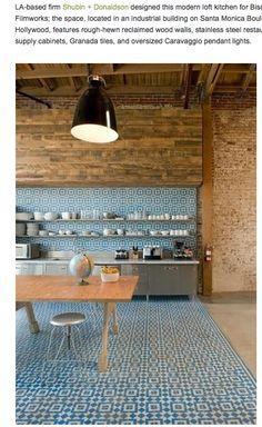 blue tile kitchen floor
