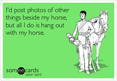 Id post photos of other things beside my horse, but all I do is hang out with my horse.
