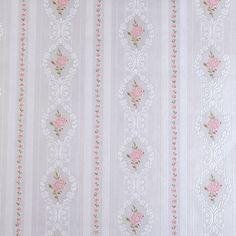 Çiçekli Bordürlü Pembe Duvar Kağıdı