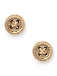 These charming stud earrings are both witty and whimsical. Shaped like buttons—right down to the criss-cross stitching—they'll add a simple yet playful touch to your everyday ensembles.