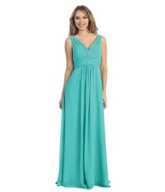 2015 Turquoise Bridesmaid Dresses V-neck Chiffon A-line Long Ruched Wedding Party Gowns Free Shipping Vestidos Para Formatura