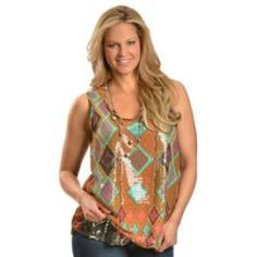 Shepler's- Wrangler Sheer Aztec with Sequin Underlay Tank Top. Nice effect with chiffon over sequined fabric.