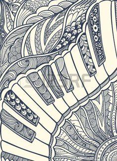Clavier De Piano L Ornement Zen Enchev Trement Noir Sur Blanc Banque Dimages
