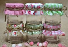 6 Mini DIY Jam Jar favors with pink green shabby by HuffyHen, - Gardening For You Mini Bottles, Bottles And Jars, Mason Jars, Diy Souvenirs, Love Jar, Baby Clothes Quilt, Pots, Jar Gifts, Gift Jars