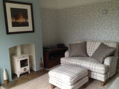Julie's Bluebell love seat in Greenfinch plaid recycled wool looks the picture of comfort in Huntingdonshire