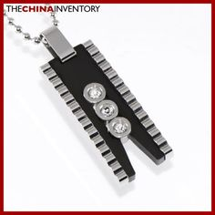 STAINLESS STEEL CZ DESIGNER TAG PENDANT P1310A