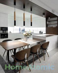 Small Modern Kitchens, Modern Kitchen Island, All White Kitchen, Kitchen Wood, Kitchen Island Dining Table, Modern Kitchen Lighting, Kitchen Cabinets, Cocina Office, Küchen Design