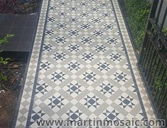 Visit our gallery to view our quality Victorian floor mosaic tiles, encaustic & pathway tiles, garden mosaic, fitted with extraordinary attention to detail. Grey Mosaic Tiles, Grey Floor Tiles, Ceramic Floor Tiles, Victorian Hallway Tiles, Tiled Hallway, Hall Flooring, Grey Flooring, Floors, Garden Ideas Terraced House