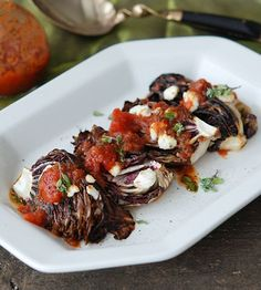 Grilled Radicchio with Goat Cheese and Herbed Tomato Dressing #recipe