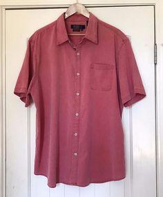 a348a330b Details about Nat Nast American Fit Shirt XL Button Front Short Sleeve Silk  Blend Light Red