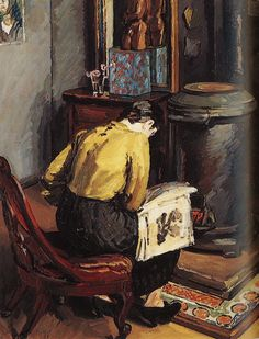 The Stove, Fitzroy Square (1936).Duncan Grant (British, 1885-1978). Grant's daughter Angelica reading by the stove in his studio. Grant was a member of the Bloomsbury Group.Grant is best known for his painting style, which developed in the wake of French post-impressionist exhibitions mounted in London in 1910. He often worked with, and was influenced by, another member of the group, art critic and artist Roger Fry.