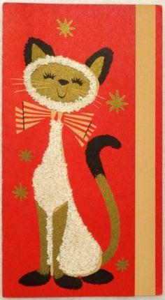 #1644 50s Mid Century Popcorn Siamese Cat- Vintage Christmas Greeting Card