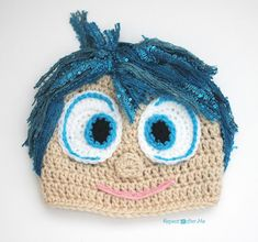 Joy Inspired Crochet Hat Pattern ~ this little guy is so adorable & would look great on the kids ~ fits newborn up to adult ~ intermediate level ~ FREE - CROCHET Crochet Kids Hats, Crochet Cap, Crochet Beanie, Cute Crochet, Crochet Crafts, Yarn Crafts, Crochet Projects, Knitted Hats, Irish Crochet
