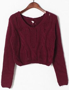 Dark Red Hollow Crop Cable Knit Sweater