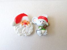 Vintage Plastic Painted Christmas Santa Claus  and Mouse by DLCS