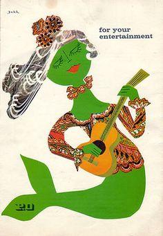 "Entertainment guide from the P liner ""Canberra"", dated 1962. The artist was Dorrit Dekk."