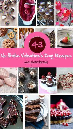 43 No Bake Valentines Day Recipes  giverecipe.com   #valentines #nobake