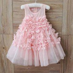 Girls Pink Petal Tutu Dress, flower girl dress, baby first birthday, party dress, floral dress, tulle dress, pink dress, modern wedding,