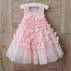 Girls Pink Petal Tutu Dress, flower girl dress, baby first birthday, party dress, floral dress, tulle dress, pink dress, modern wedding,