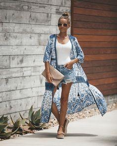 Batika Button Down Maxi Dress - Blue Long Kimono, Kimono Top, Summer Shorts Outfits, Hippie Boho, Different Styles, Casual Wear, Boho Chic, Attitude, Jacket
