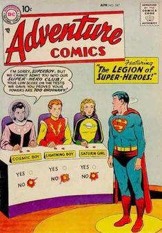 Adventure Comics 247 - Lightning Boy - Superboy - Saturn Girl - Cosmic Boy - Adventure League - Curt Swan & Stan Kaye : first appearance Valuable Comic Books, Dc Comic Books, Comic Book Covers, Comic Book Heroes, Comic Art, Old Comics, Dc Comics Art, Vintage Comics, Vintage Books