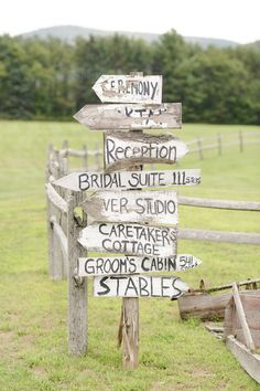 love these rustic wood wedding signs