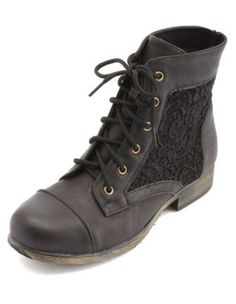 lace inset lace-up combat booties Adorable black combat boots. I love the lace paneling! From Charlotte Russe- $38.50