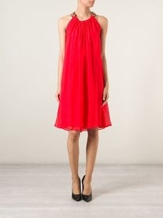 Red silk embellished dress from Lanvin