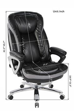 VIVA OFFICE Deluxe Big And Tall Thick Padded High Back Bonded Leather Office  Executive Chair With