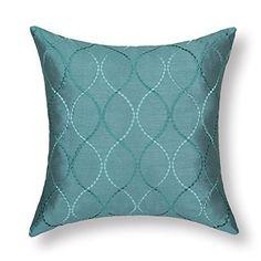 "Euphoria Contempo Decorative Throw Pillow Cushion Covers Pillowcase Shell Faux Silk Teal Waves Embroidery 18"" X 18"""