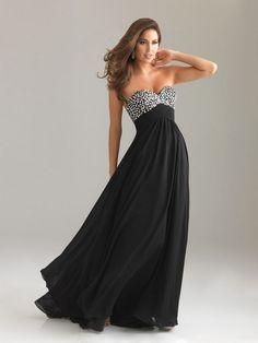 Sequin Top Long Black Strapless Chiffon Prom Dress [Long Black Strapless Prom Dress] - $138.99 : Fashion dresses, 50% off Designer dresses at UrDressOnline