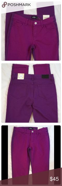 """NWT, Kate Spade, Color Block Skinny Jeans! NWT, Kate Spade Saturday Color-block skinny jeans. Chic unique subtle contract of a bright magenta front and dark purple back. Measured while laying flat approx measurements: 13.75"""" waist, 15"""" across hip & 7.75"""" across thigh. Fit: slim jeans, fitted hip & thigh, sits below the waist and hit below the ankle. Brand new with tags. Size 24. 🚫No Trades kate spade Jeans Skinny"""