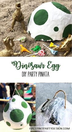 Prehistoric Party-saurus DIY Dino Egg Piñata When the birthday boy insists on a dinosaur piñata and you have to make your own! This DIY dino egg pinata is an easy shape to create and paper mache. Dinosaur Birthday Party, 4th Birthday Parties, Diy Birthday, Birthday Party Decorations, Birthday Ideas, Birthday Boys, Third Birthday, Diy Dinosaur Party Decorations, Women Birthday