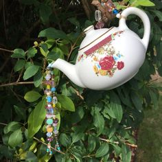 Tea Pot Ornament Hanging Garden Decor Kitchen by mscenna on Etsy
