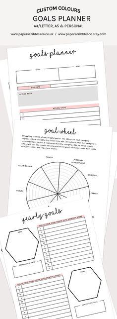 Goal Planner | 2018 Goals | 2018 Planner | Goal Setting | Printable Planners | Planner Inserts | Goal Planning | Goal Planner Printable